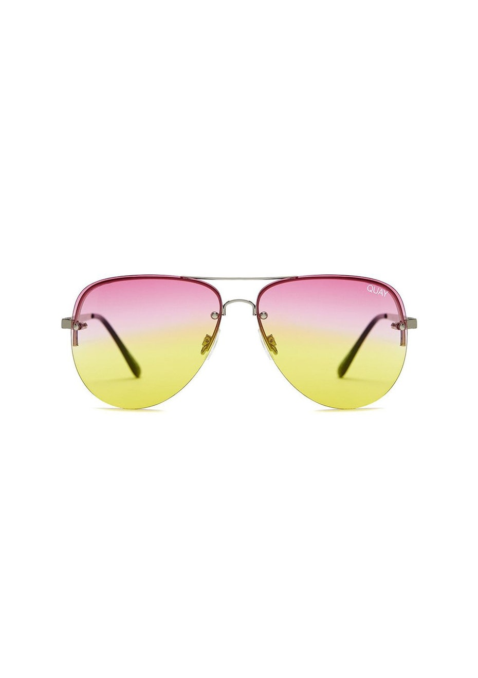 Quay - Muse Fade - Silver/ Pink Yellow Fade Lens