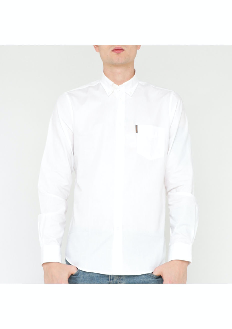 Ben Sherman L/S Plain Mod Shirt W/Pocket White