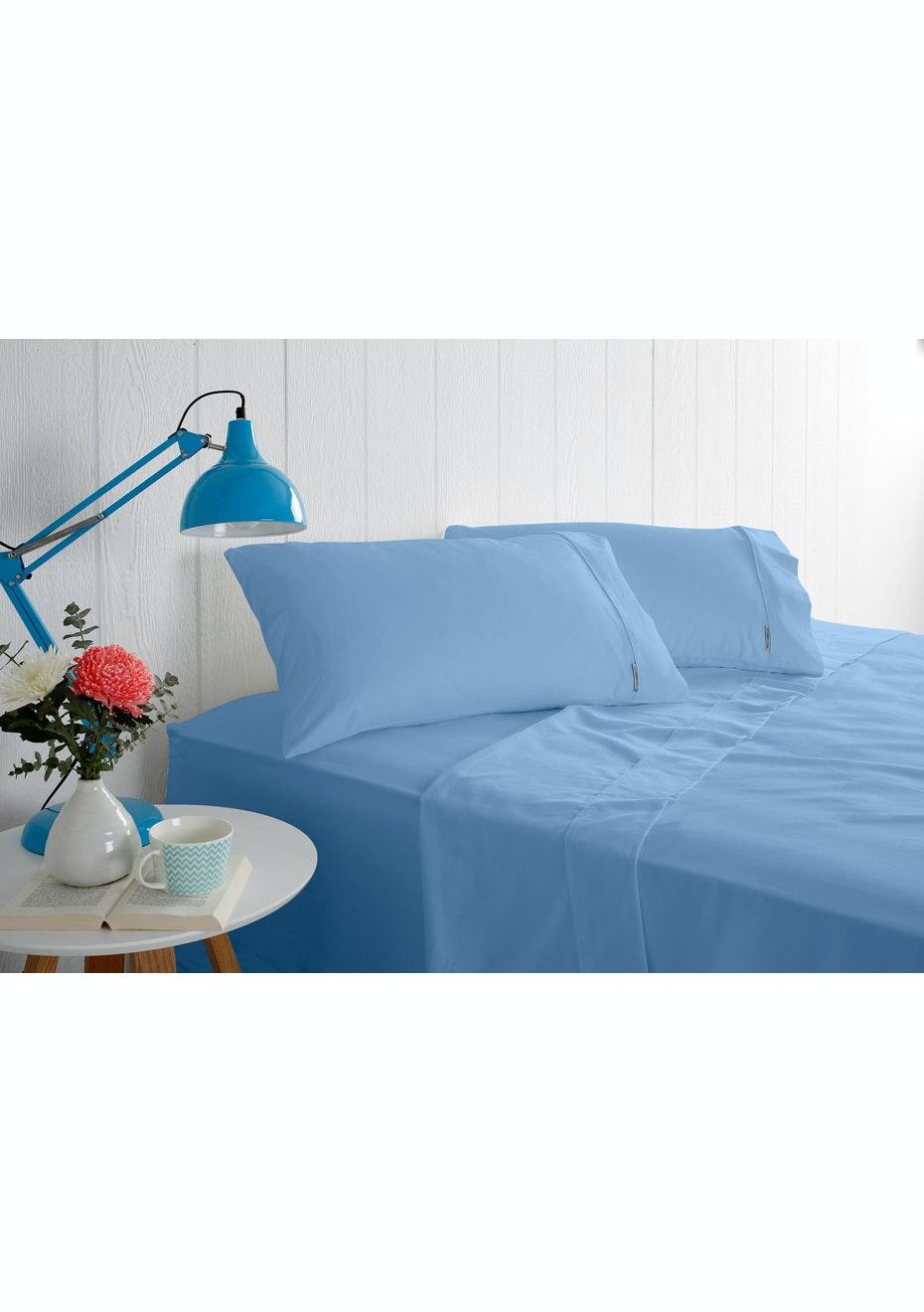 Odyssey Living 1000 Thread Count – Cotton Rich Sheet Sets - Bluebird - Queen Bed