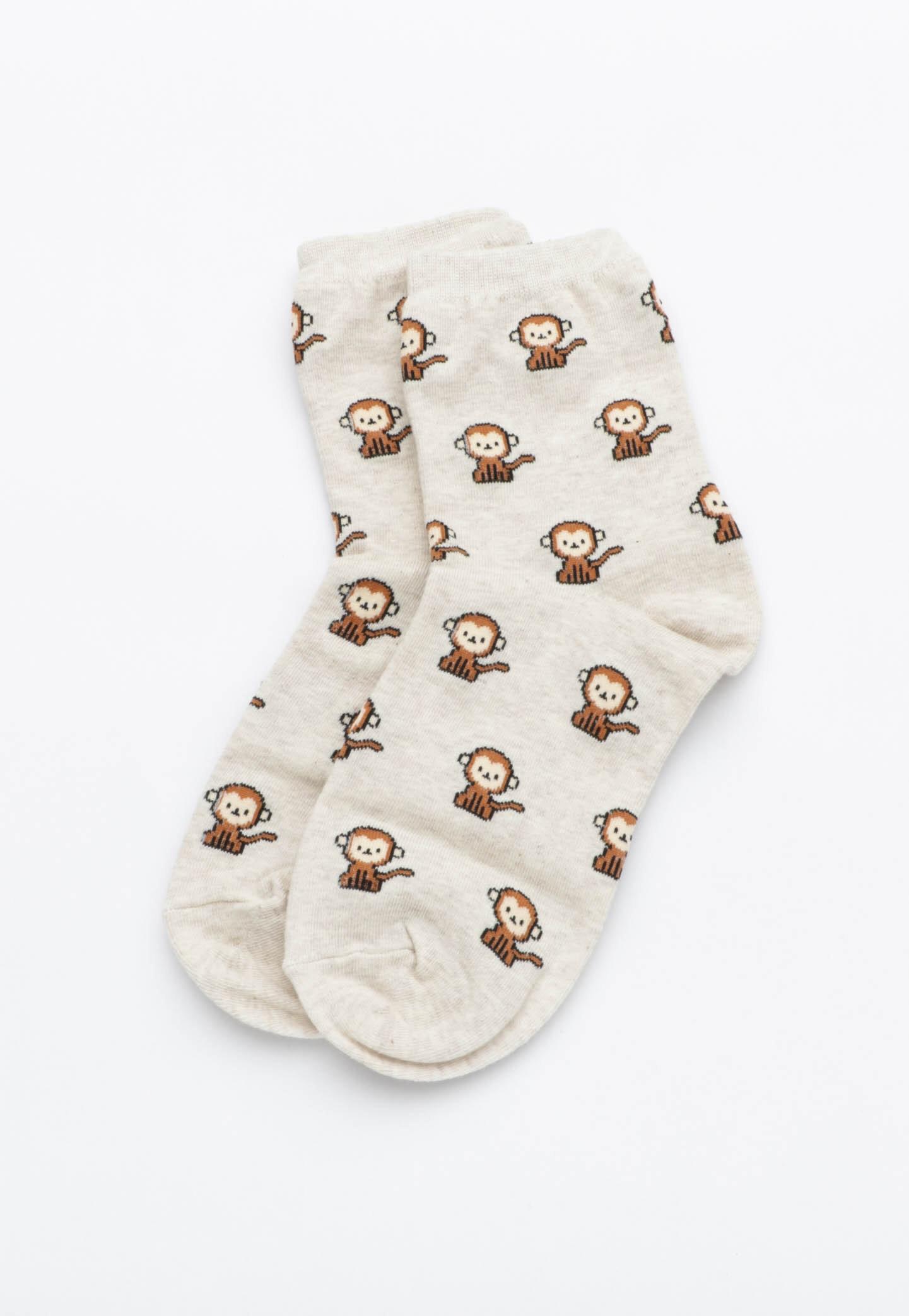 Monkey Socks - Oatmeal