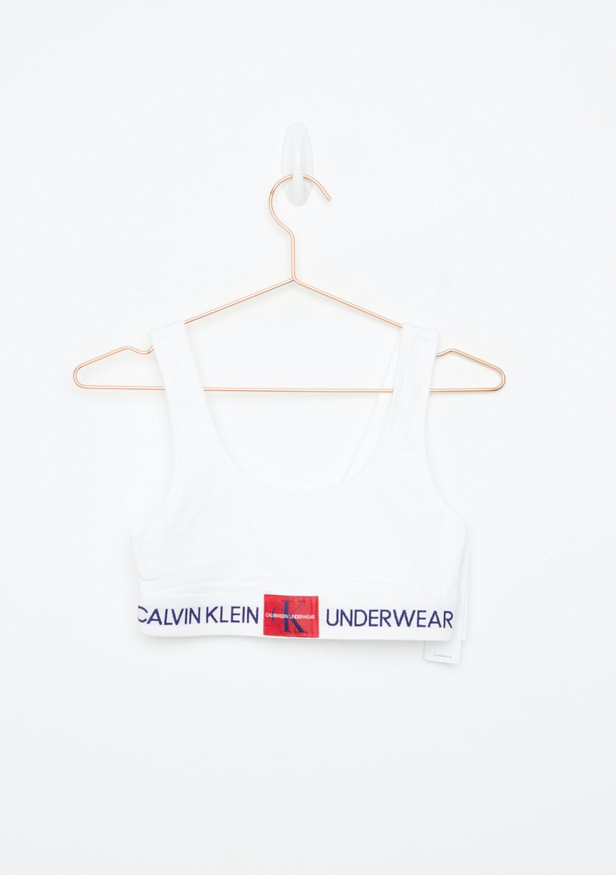afab2d843e8 Calvin Klein - Womens Monogram Unlined Bralette - White - Free Shipping Calvin  Klein - Onceit