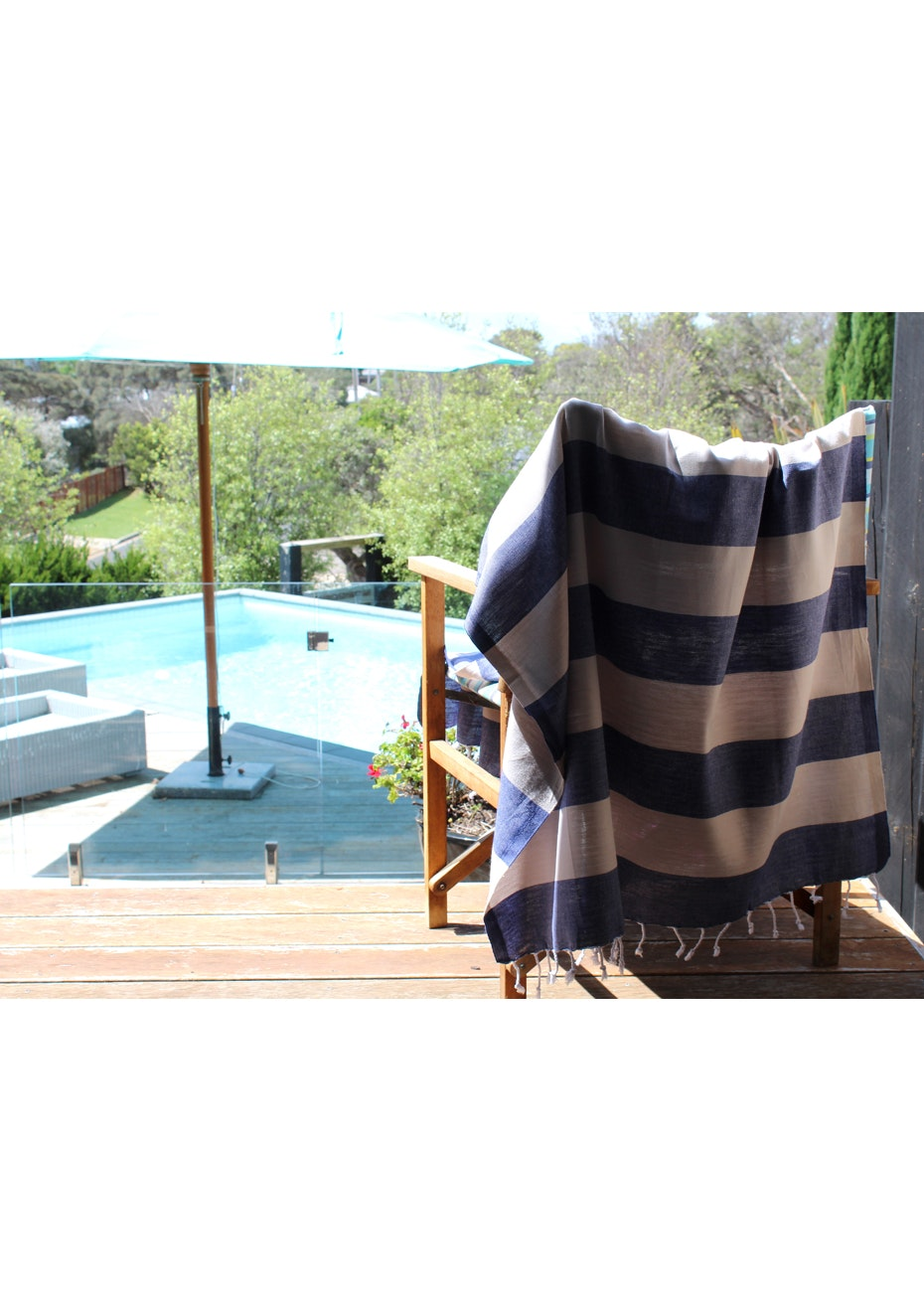 Tenedos Navy & Beige Turkish Towel