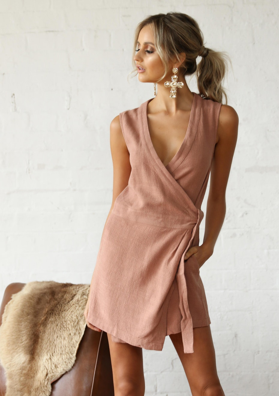 Madison - HAILEY WRAP DRESS - CLAY