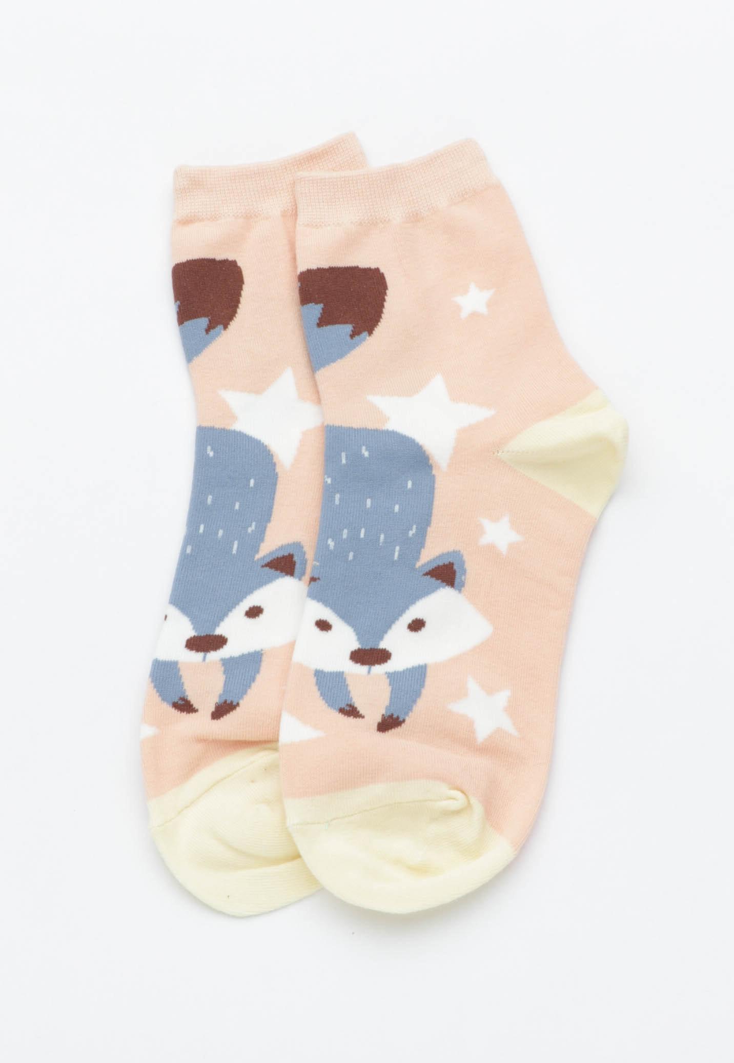 Raccoon Socks - Peach