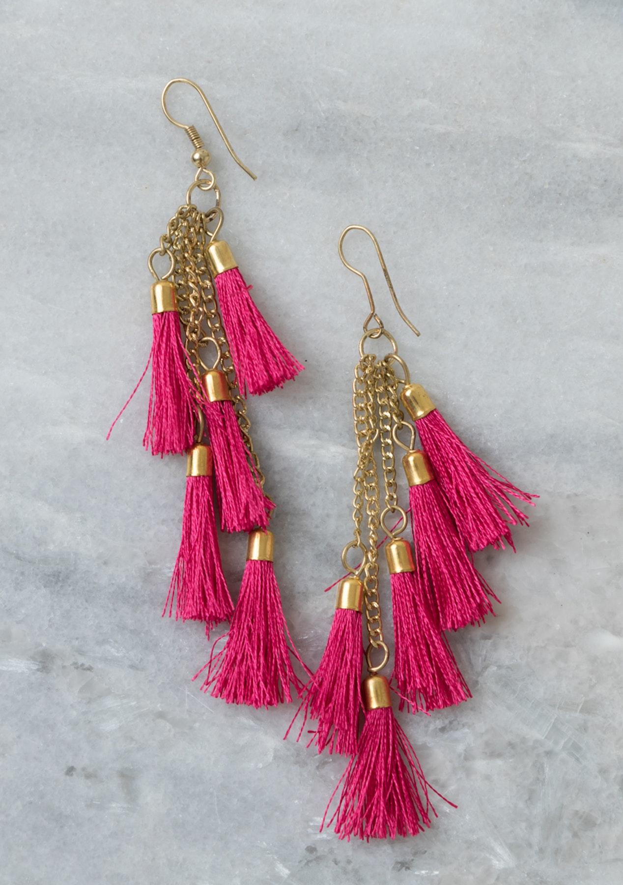 e258607ca Marigold Lane - Dark Pink Multi Tassel drop Earring - Free Shipping Boho  Jewellery & More - Onceit