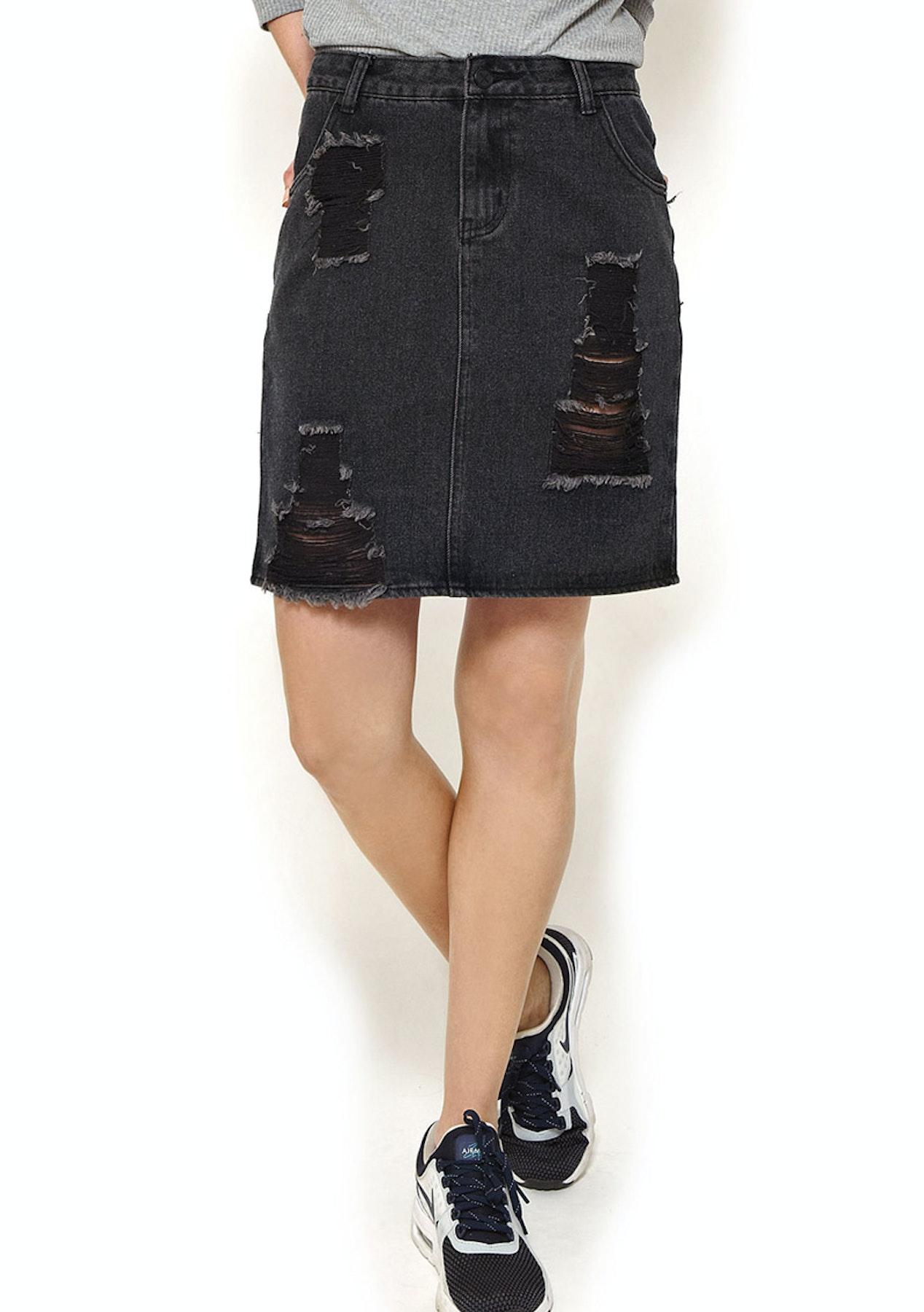 4dfae02f3d First Base - Classic Distressed Denim Skirt - Vintage Black - First Base -  Onceit