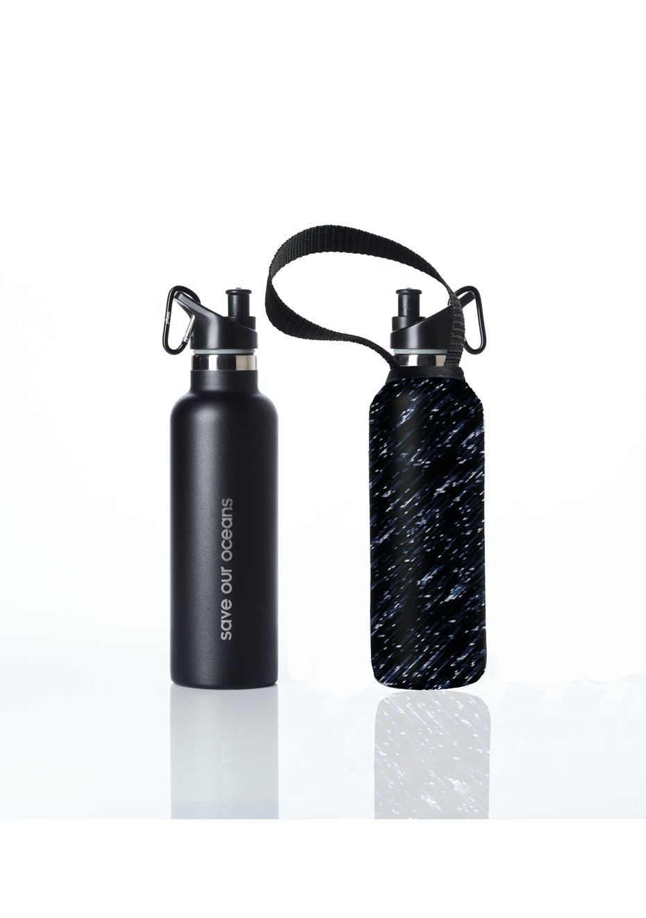 BBBYO - Thermal Traveller Bottle+ Carry Cover (Night Rain Print)- sports cap - 750 ml Black