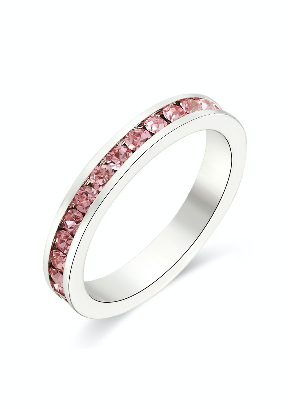 Stackable Ring - White Gold w Pink Embellished with Crystals from Swarovski