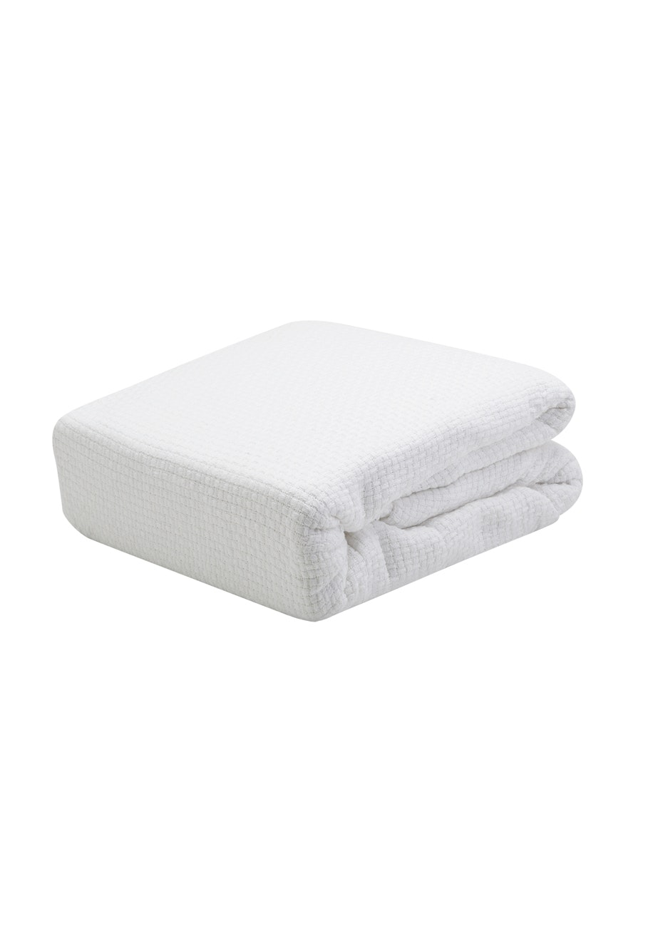 Pebble Weave Cotton Blanket - White - Queen/King