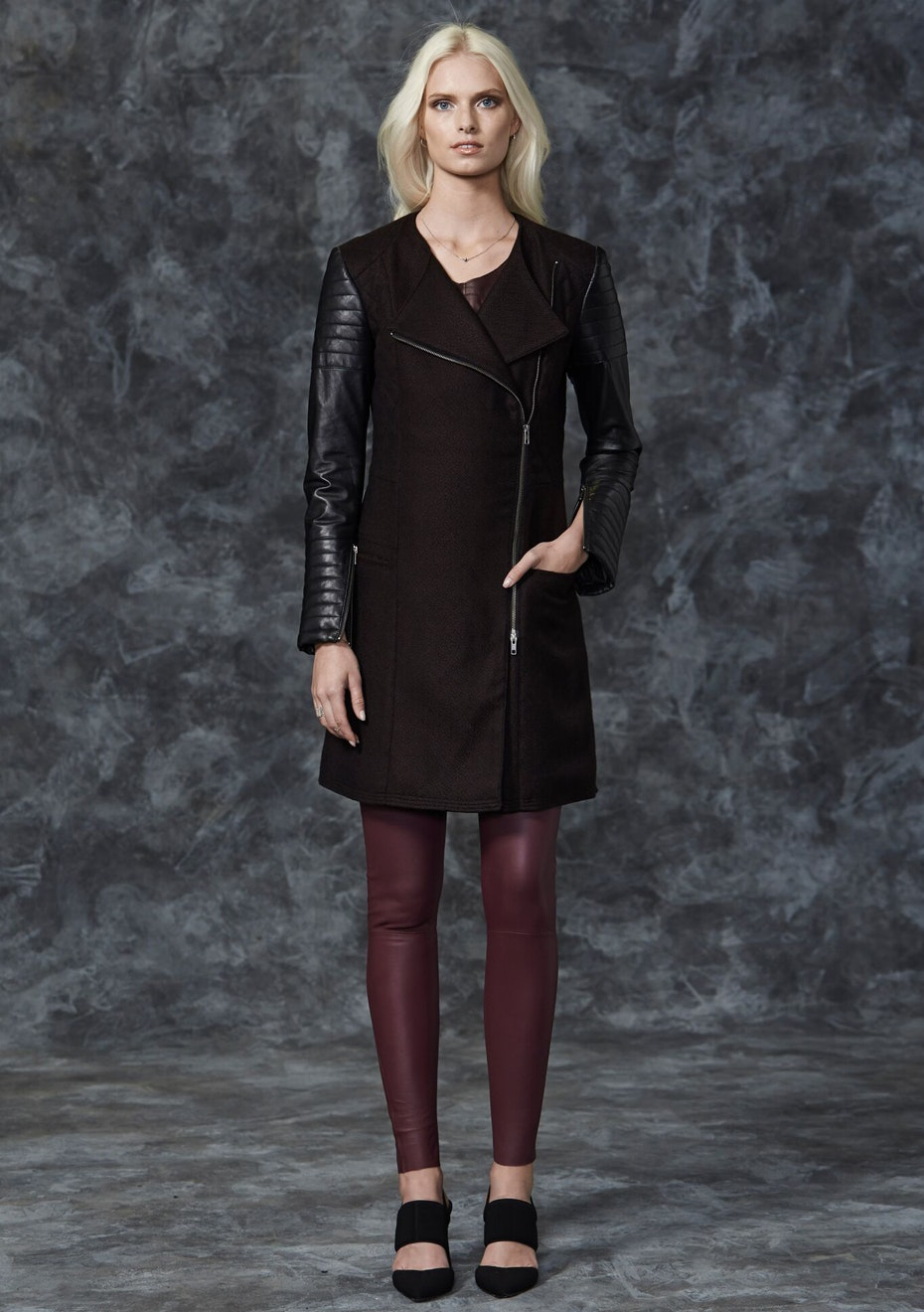 West 14th - Greenwich Long Drape Coat - Mix Material - Malbec Purple + Black Leather