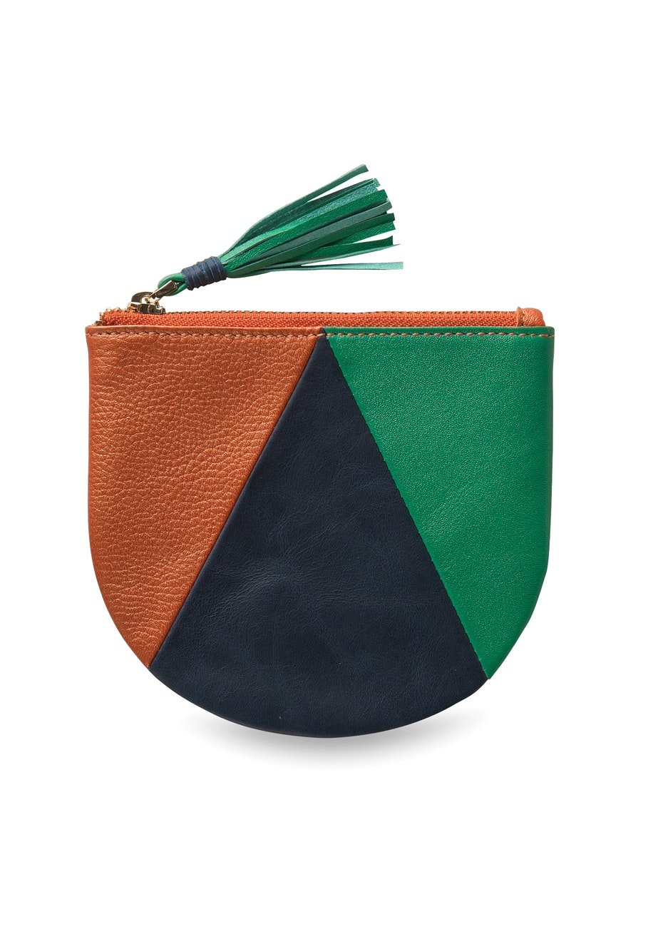 Città - Slice Leather Coin Purse Saffron/Indigo/Leaf  13x11cmh