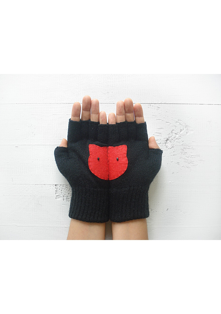 Kitty Fingerless Gloves - Black/Red