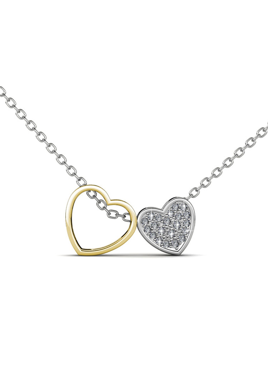 Two Tone Heart Pendant Necklace Embellished with Crystals from Swarovski