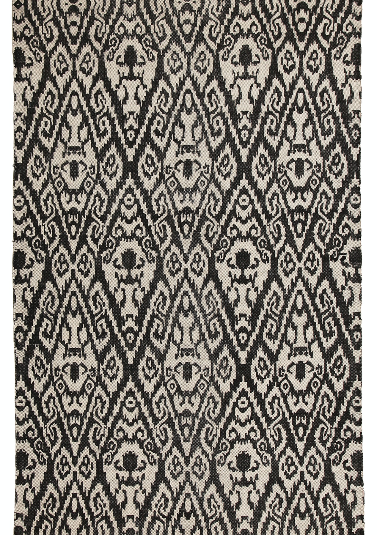 Logan b w stonewashed cotton tribal ikat fringed rug 270x180cm rugs 299 under onceit