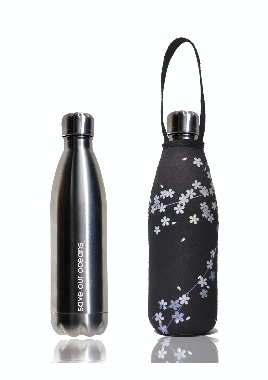 BBBYO - Future Bottle+ Carry Cover (Spring Print) - 500 ml Silver
