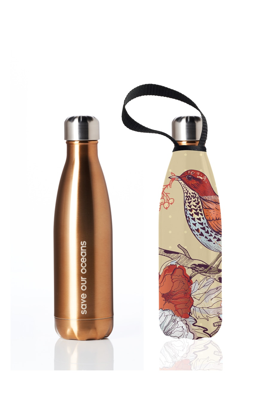BBBYO - Future Bottle+ Carry Cover (Bird  Print) - 500 ml Gold