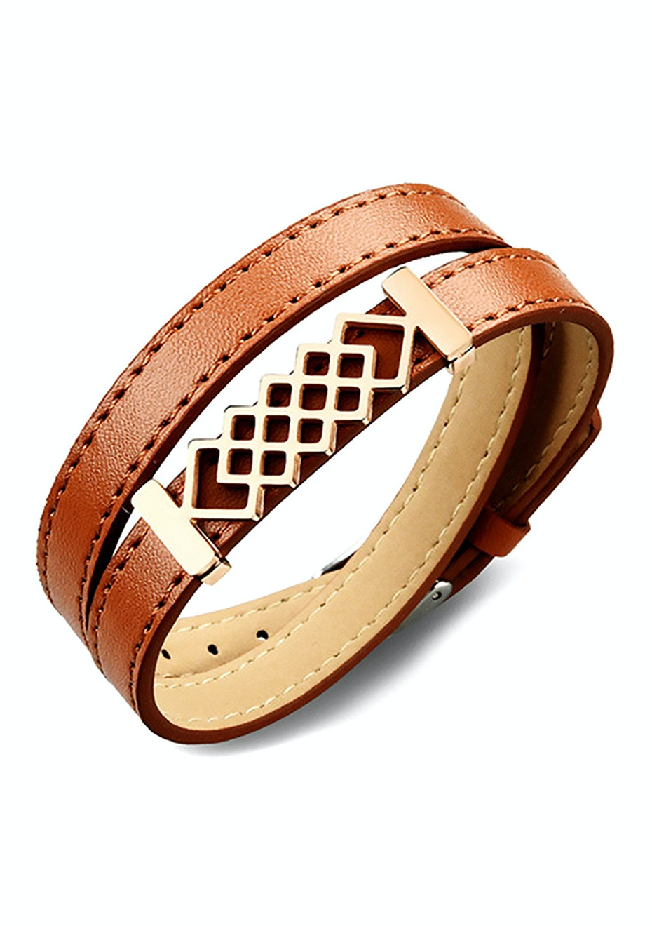 Genuine Leather Honeycomb Wrap Bracelet | Brown