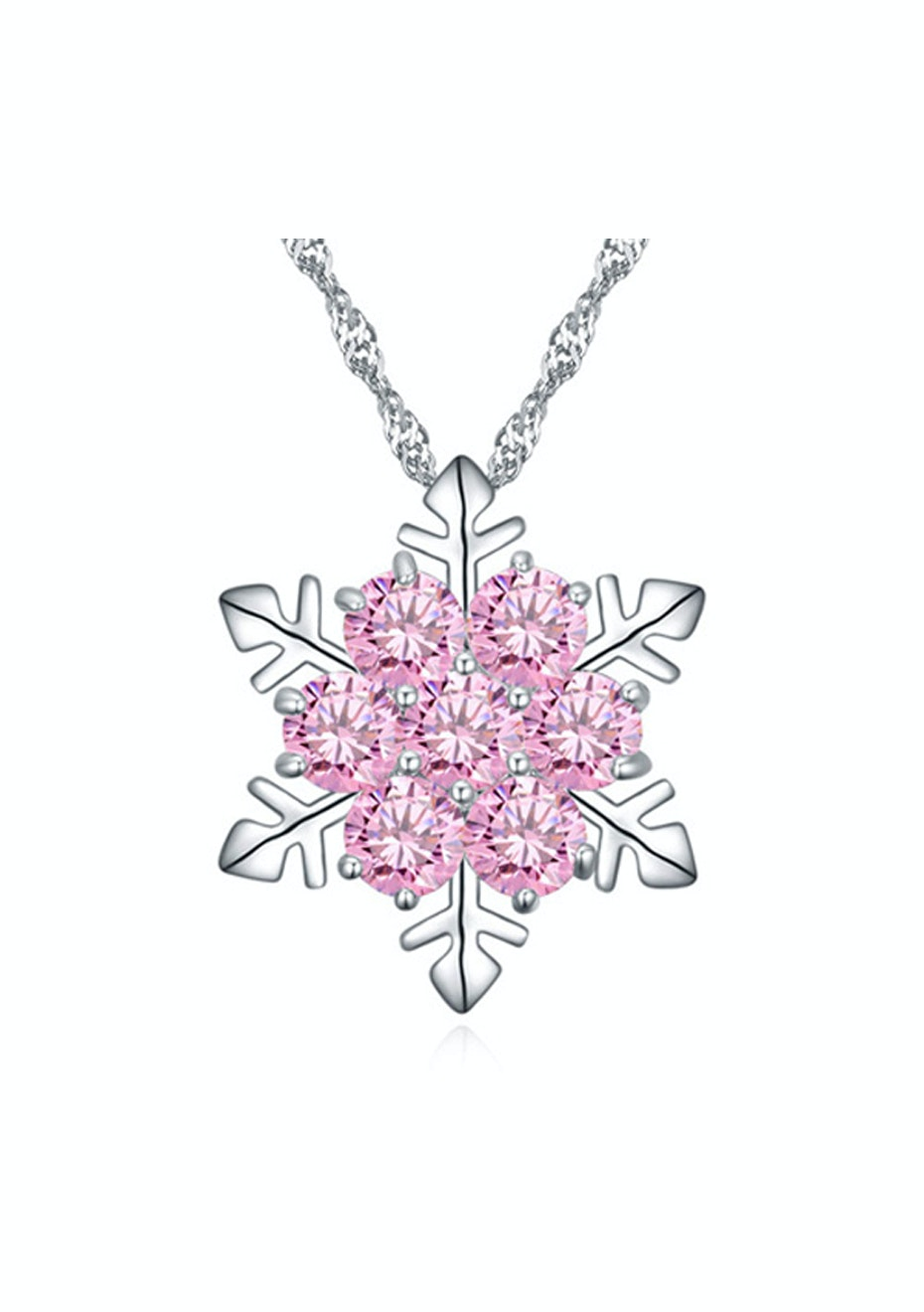 Frozen Flake Pendant Necklace Embellished with Crystals from Swarovski -PNK