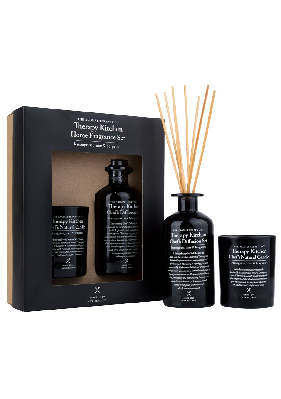 The Aromatherapy Co. Therapy Kitchen Gift Set - Diffuser & Candle - Lemongrass, Lime & Bergamot