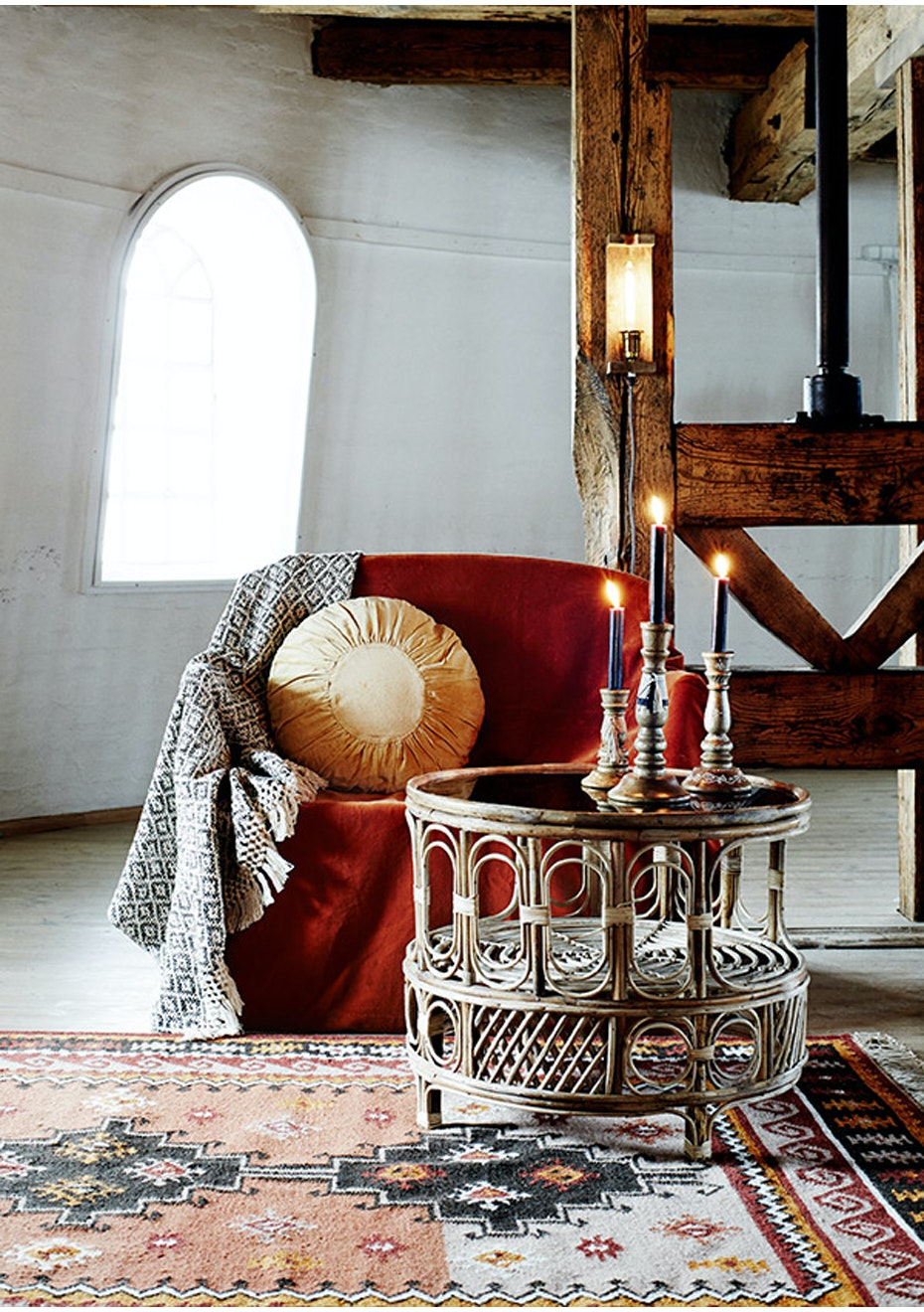 Picture of: Madam Stoltz Round Bambo Coffee Table With Smoke Glass Boho Style Macrame Homeware Rugs More Onceit