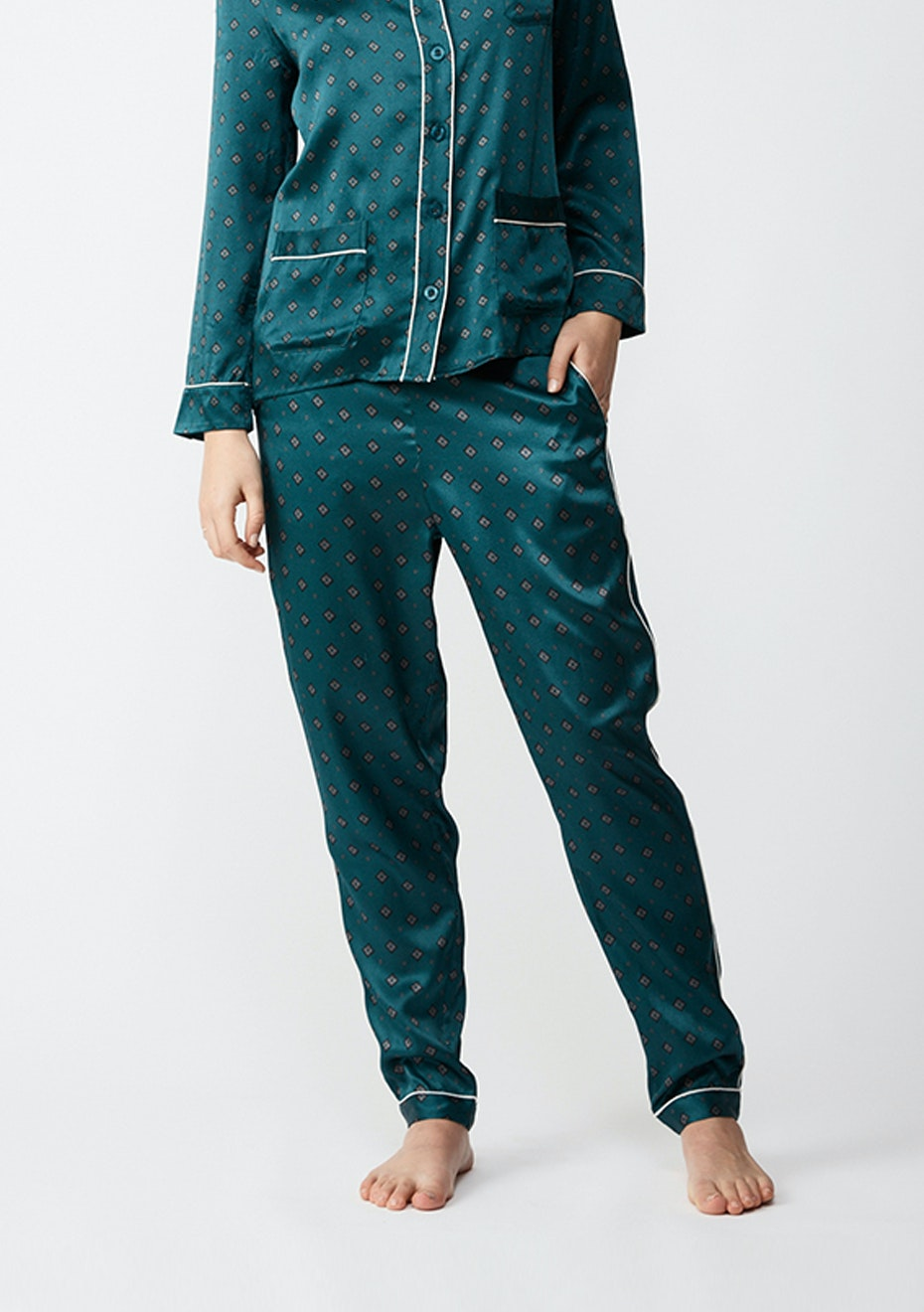NATALIJA - Silk Pj Pants - Diamond
