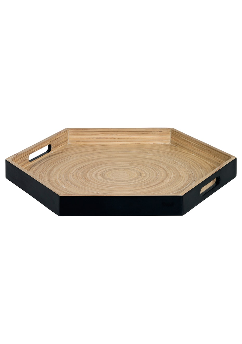 Lacquered Metallic Tray - Black/Wood