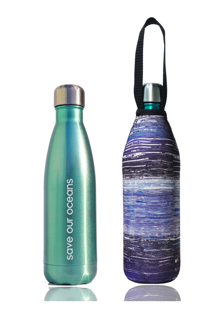 BBBYO - Future Bottle+ Carry Cover (Mist Print) -750 ml  Mint