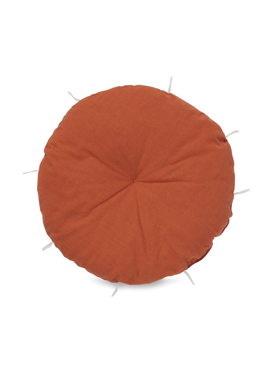Città - Tufted Round Squab w/Tassels Rust/Milk  45cmdia