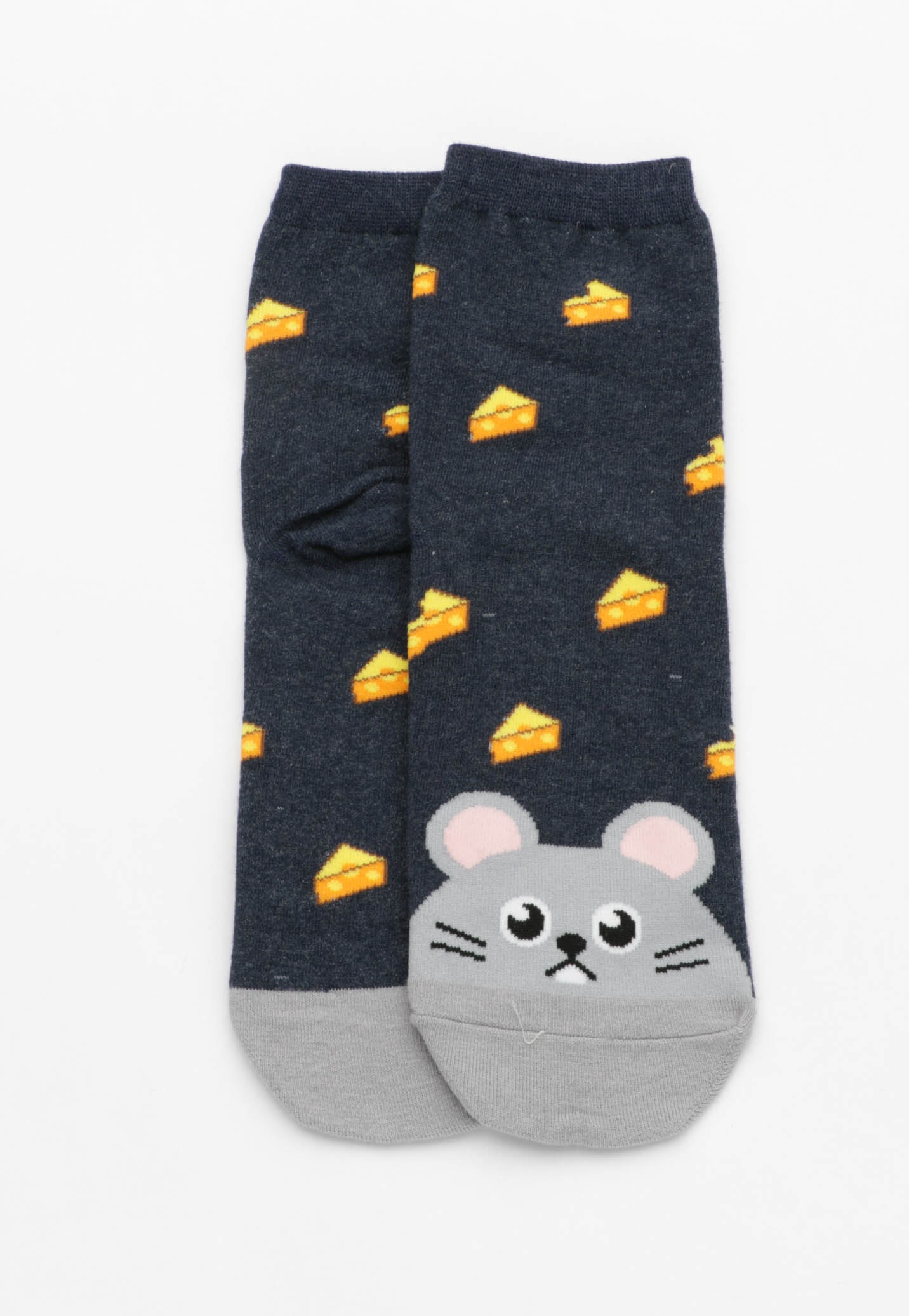 Mouse Cheese Socks - Navy
