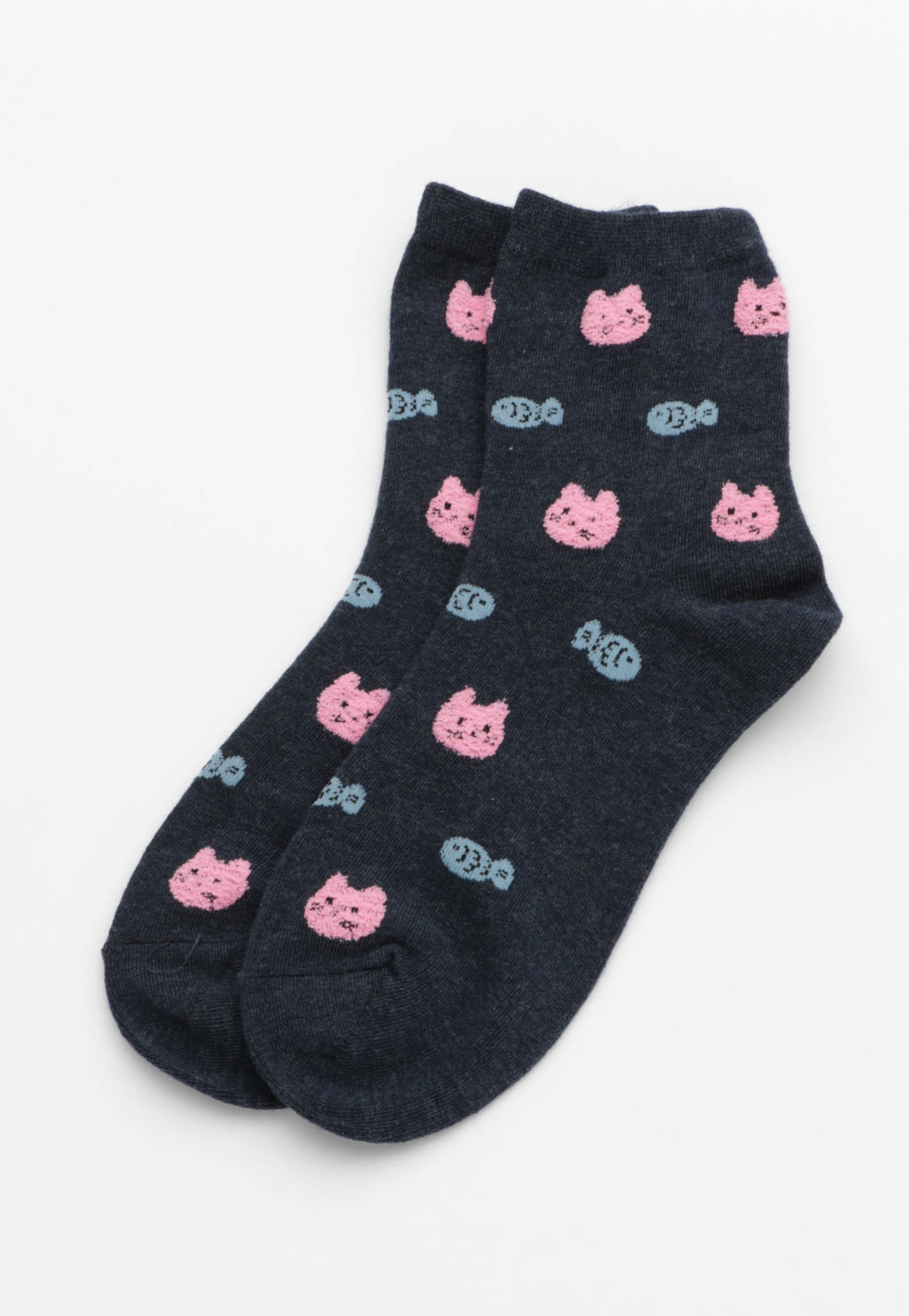 Cat Fish Socks - Navy