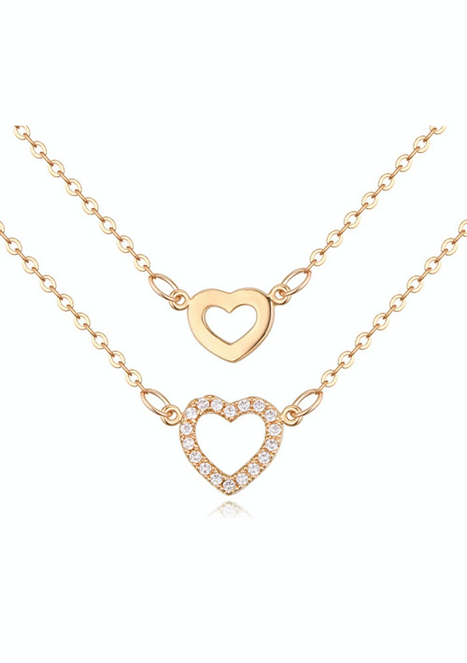 Dual Heart Pendant Necklace Embellished with Crystals from Swarovski -G