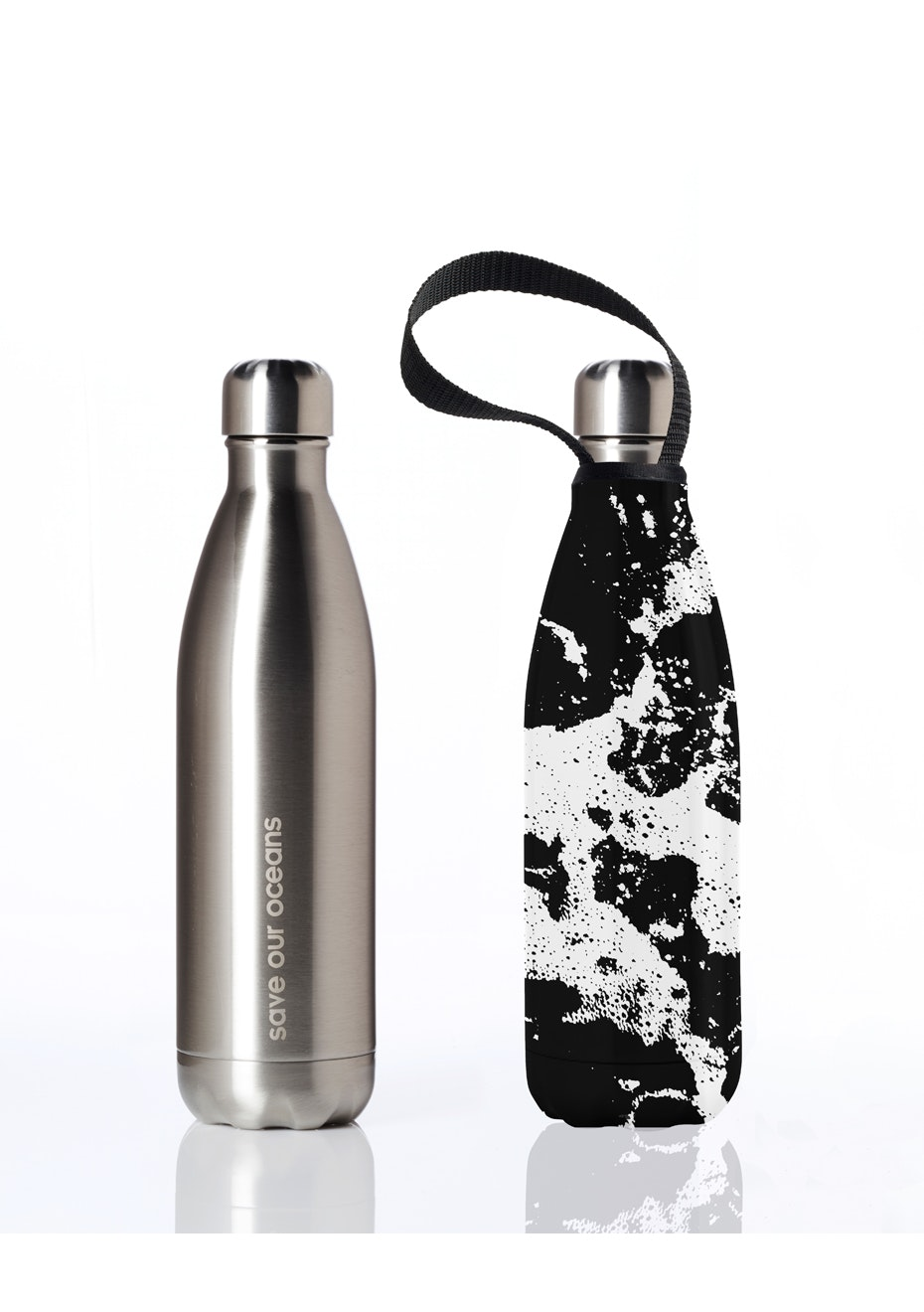 BBBYO - Future Bottle+ Carry Cover (Whitewater Print) -750 ml  Silver