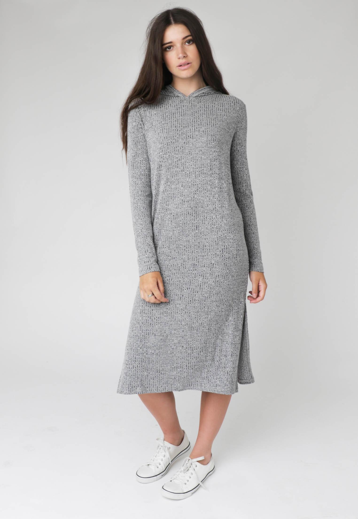 Silent Theory - Hideaway Hoody Dress - Charcoal
