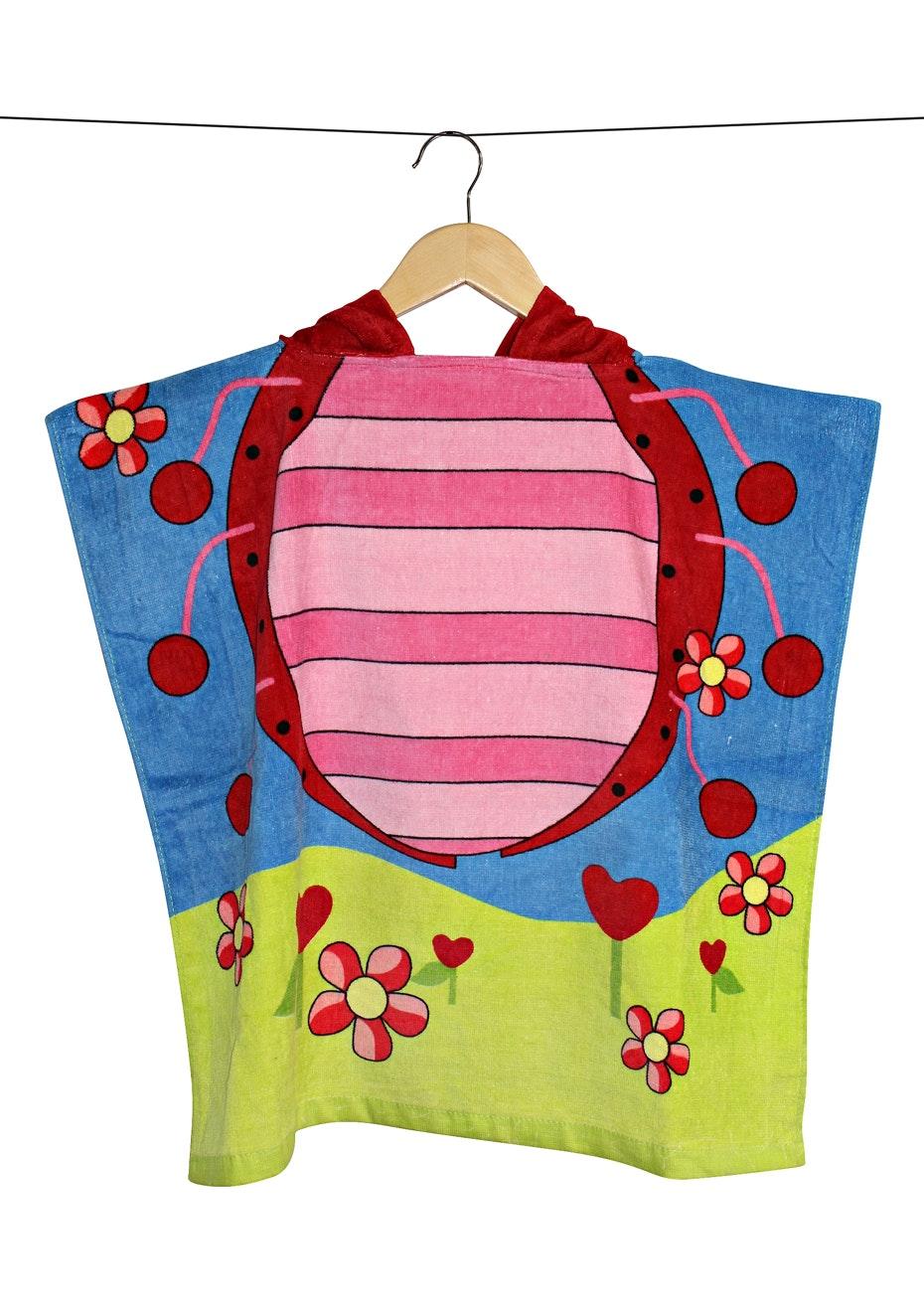 100% Cotton Kids Poncho 60x120cm Neck Size 5.5cm - Lady Bug
