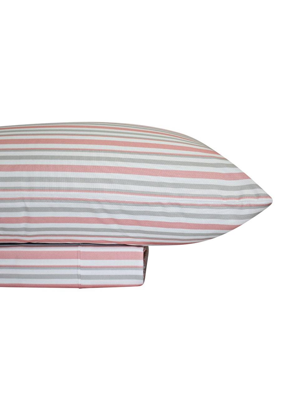 Thermal Flannel Sheet Sets - Stripe Design - Blossom/Glacier - King Single Bed