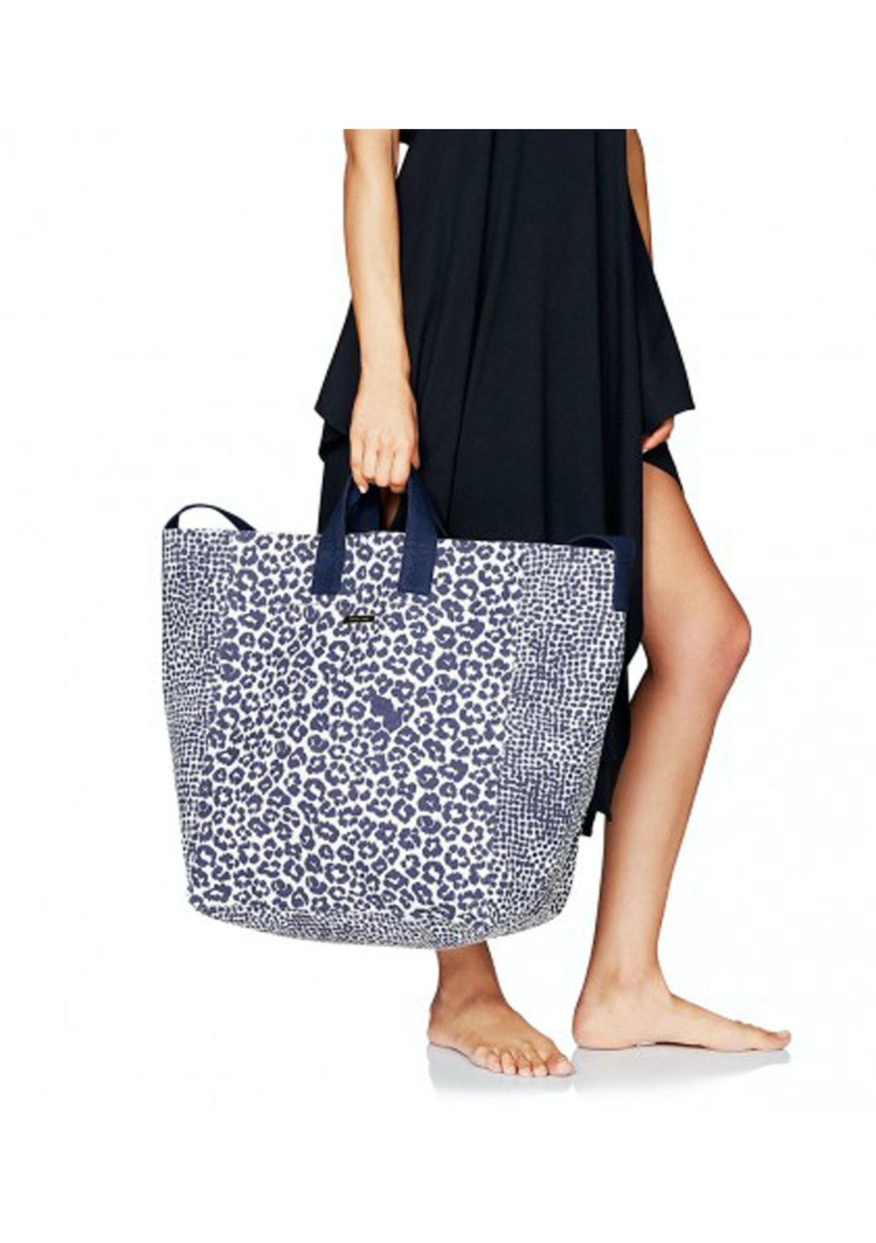 Stella Mccartney Beach Bag Midnight Blue Leopard Giraffe Print Heidi Klum Swim Onceit
