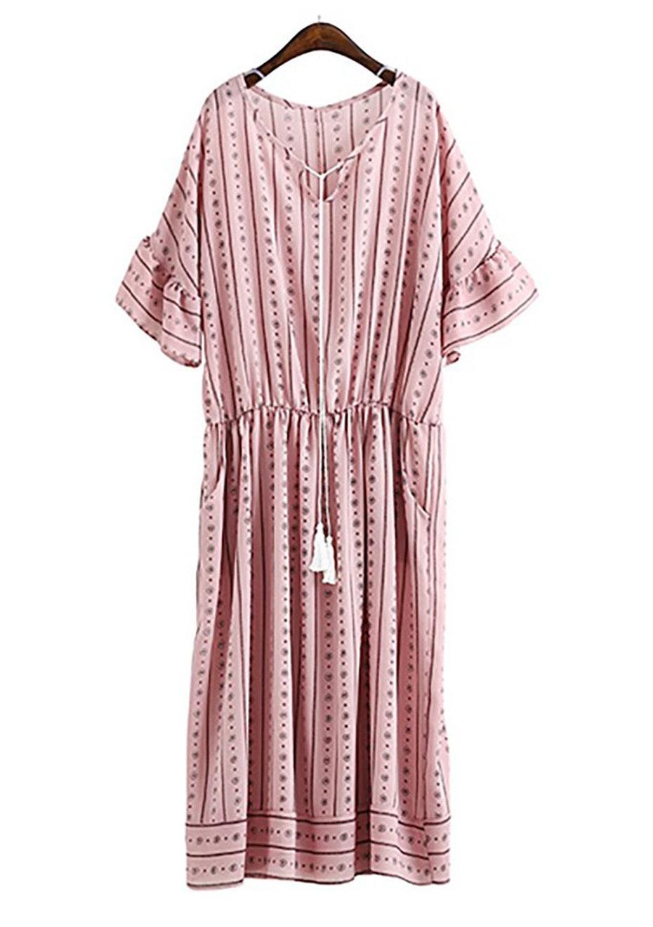 Liana Tassel Flare Dress  - Blush