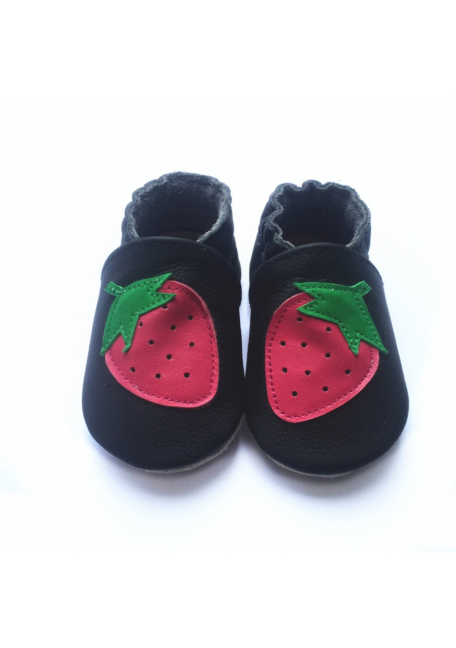 Baby  Leather Shoes - Black / Strawberry