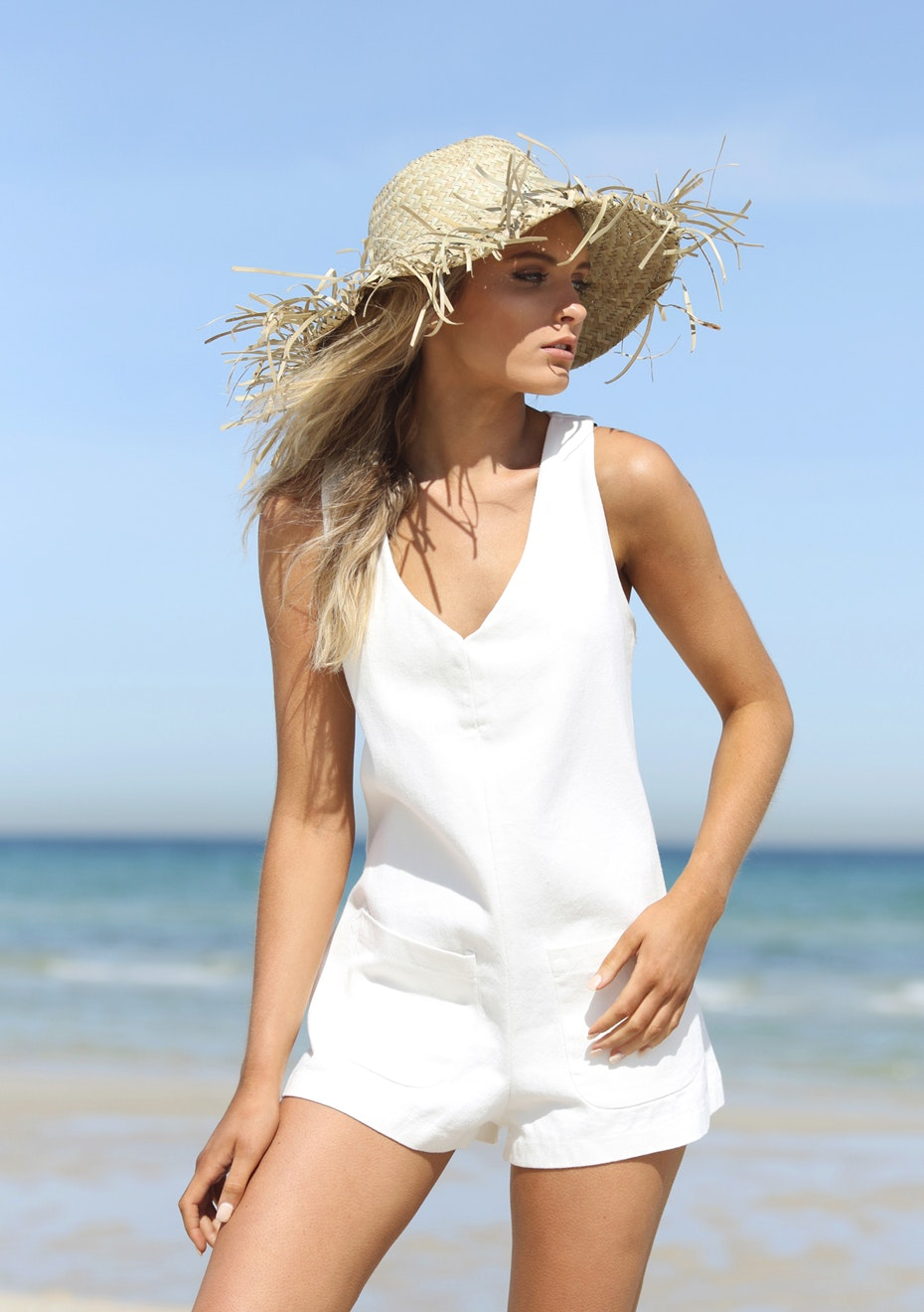 Madison - PISTOL ROMPER - WHITE