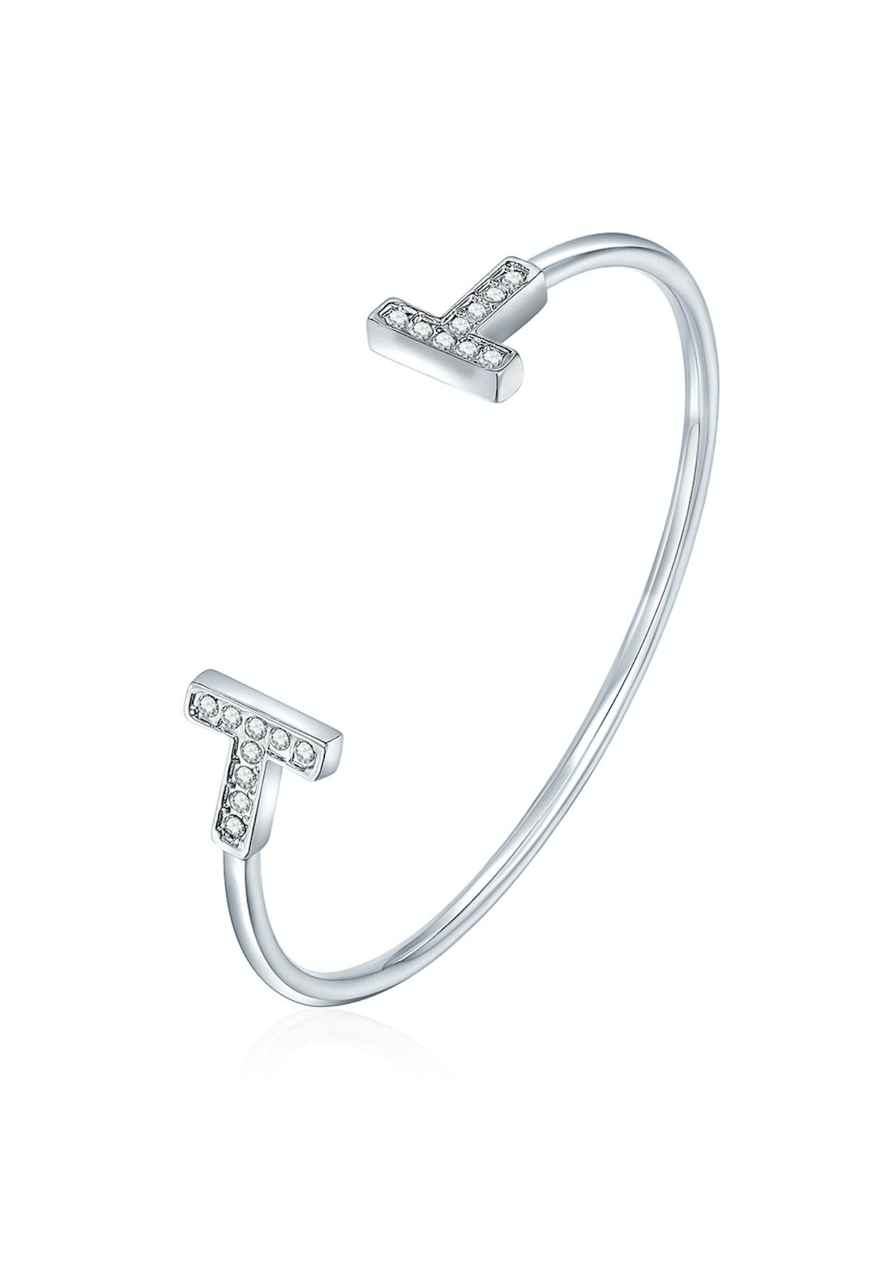 8a83fcd33a89 Open Cuff Bangle Ft Swarovski Elements -WG - Swarovski Elements   Leather  Bracelets - Onceit