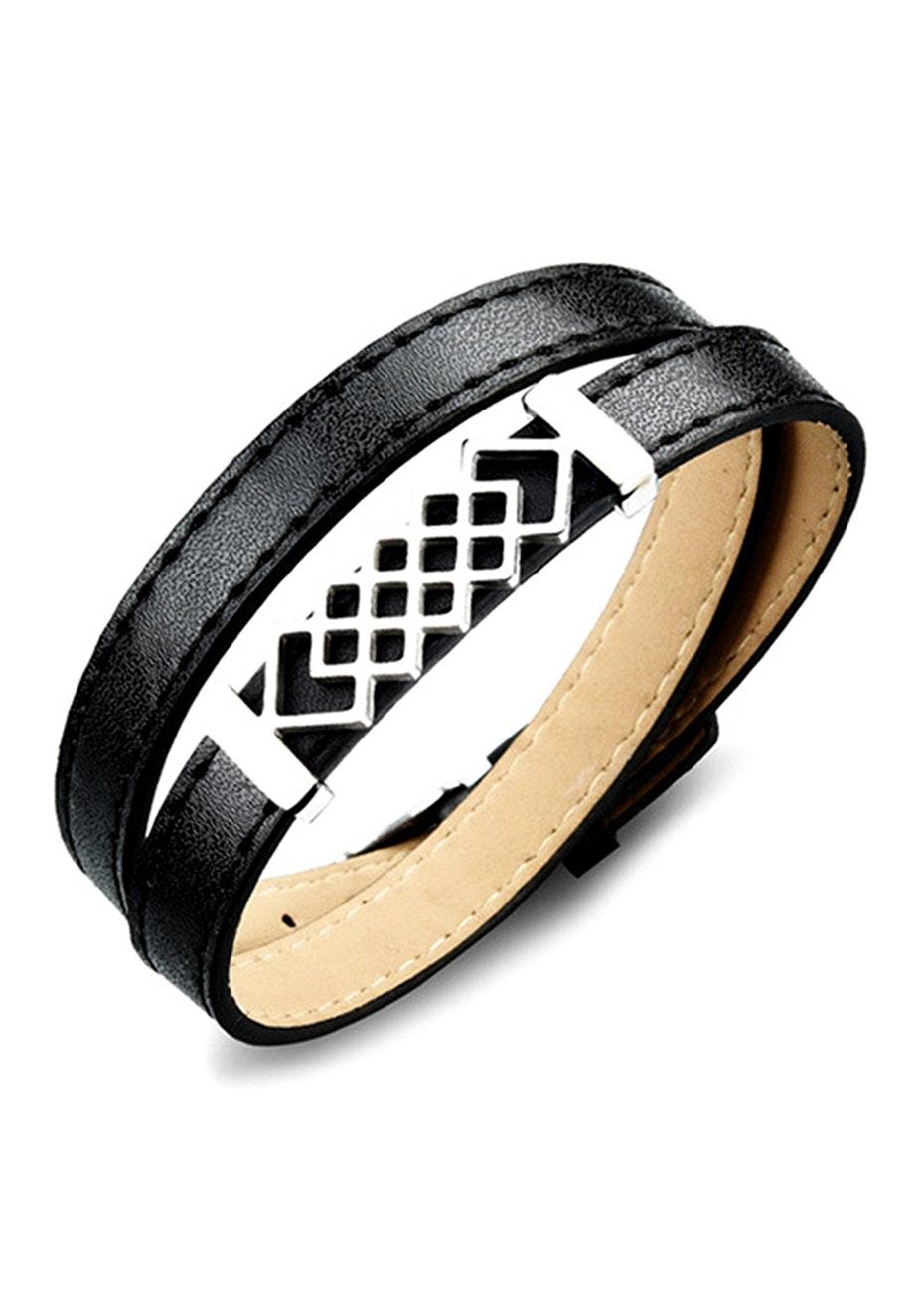 Genuine Leather Honeycomb Wrap Bracelet | Black