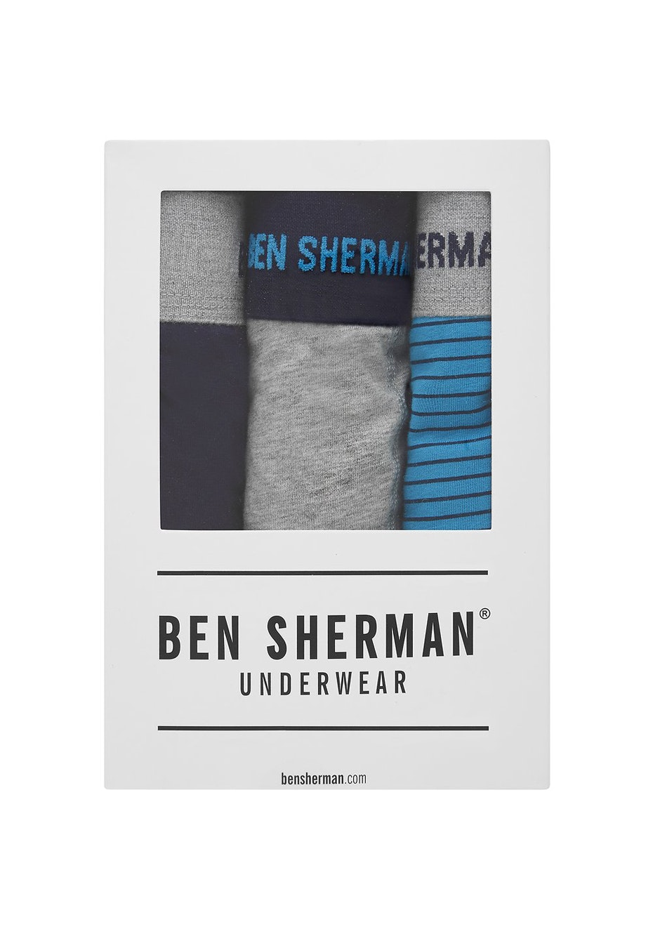 Ben Sherman - Ernie 3 Pack Trunkl Stripe - Grey Marl