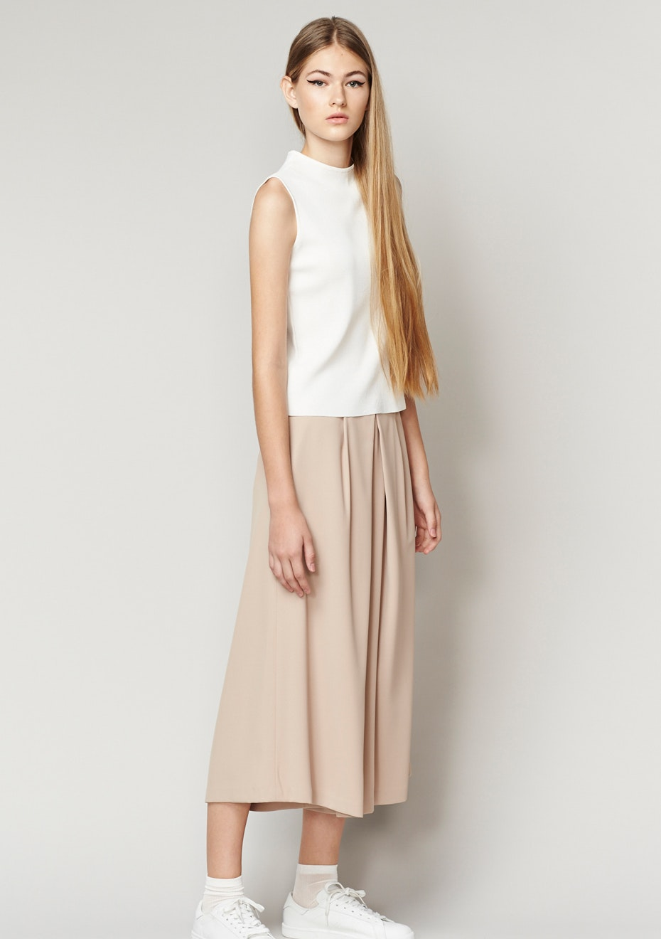 Achro - Pleated Wide Leg  Culottes - Beige