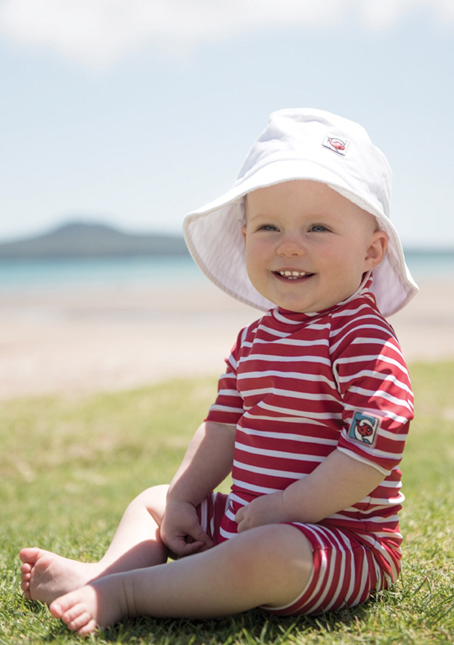 Little Red Fish - Fullsuit Short Sleeve Swimsuit - Red & White Stripe