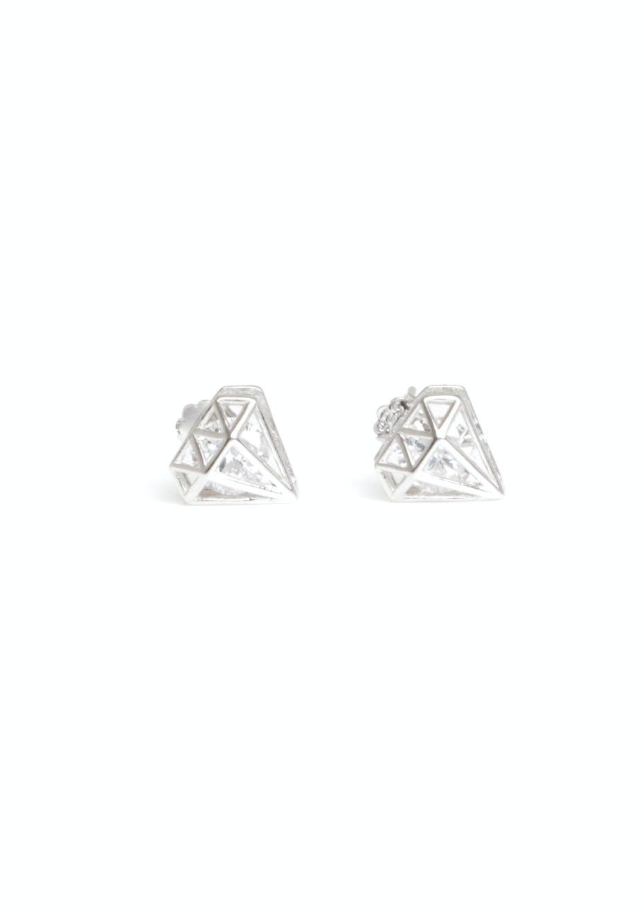 Clear gem diamond stud silver