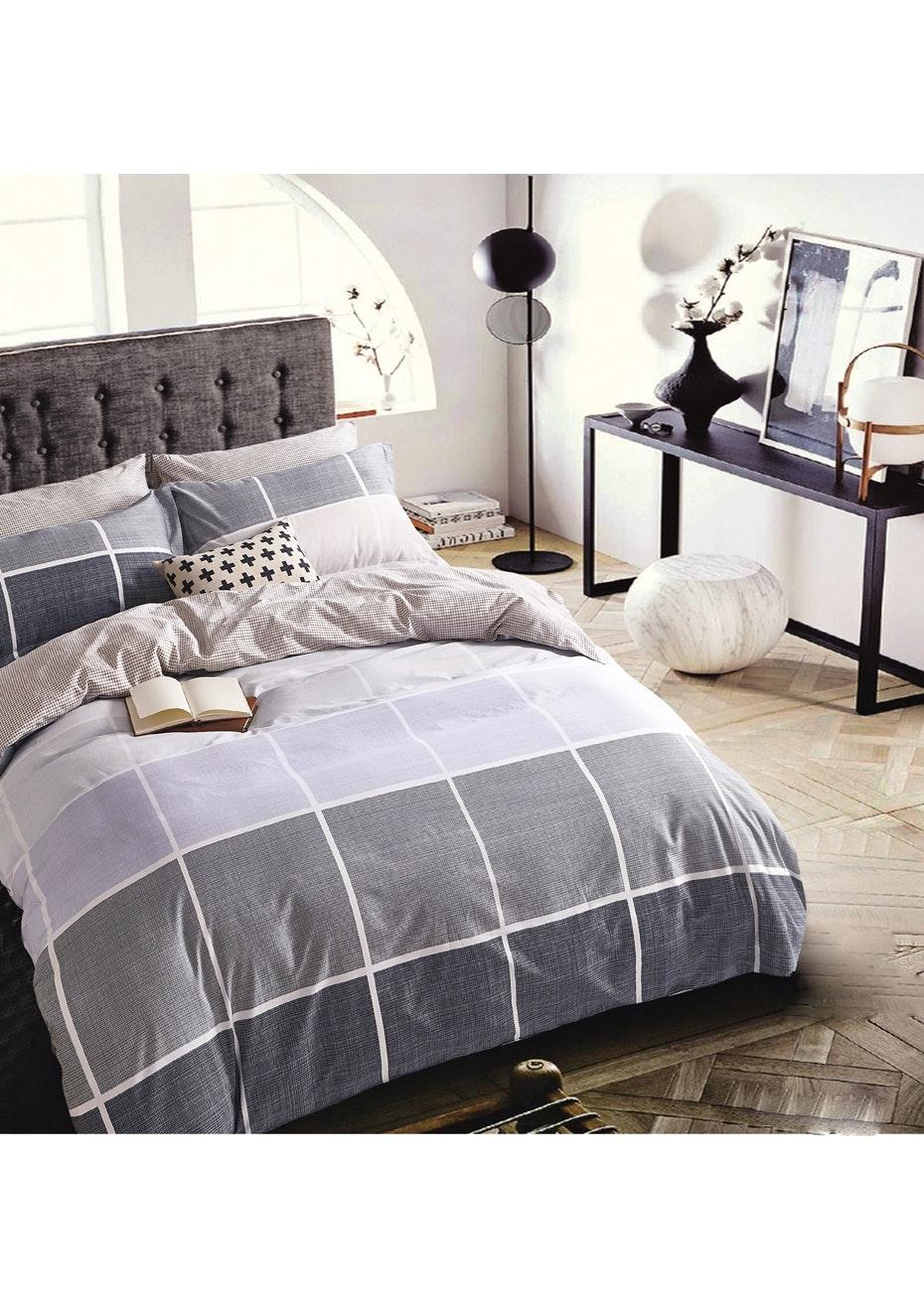 Catalina Quilt Cover Set - Reversible Design - 100% Cotton Queen Bed