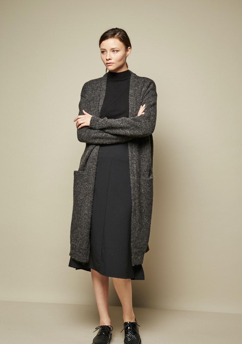 Achro - Wide Sweep A-Line Midi Skirt - Black