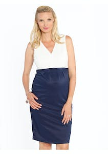 d6c89ba620 Angel Maternity - Sleeveless Ponti Nursing Dress - White & Navy Block