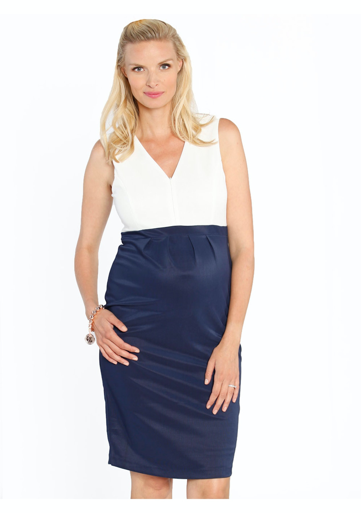 2dfab665bbb Angel Maternity - Sleeveless Ponti Nursing Dress - White   Navy Block -  Love Your Bump - On Trend Maternity Wear - Onceit