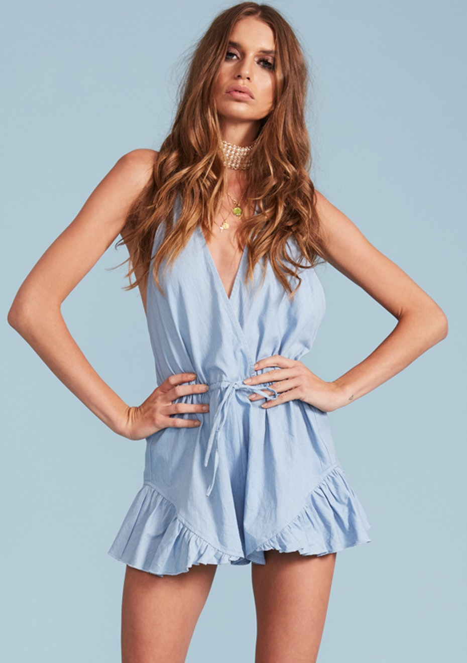 Lioness - Catalina Halter Romper  - Chambray
